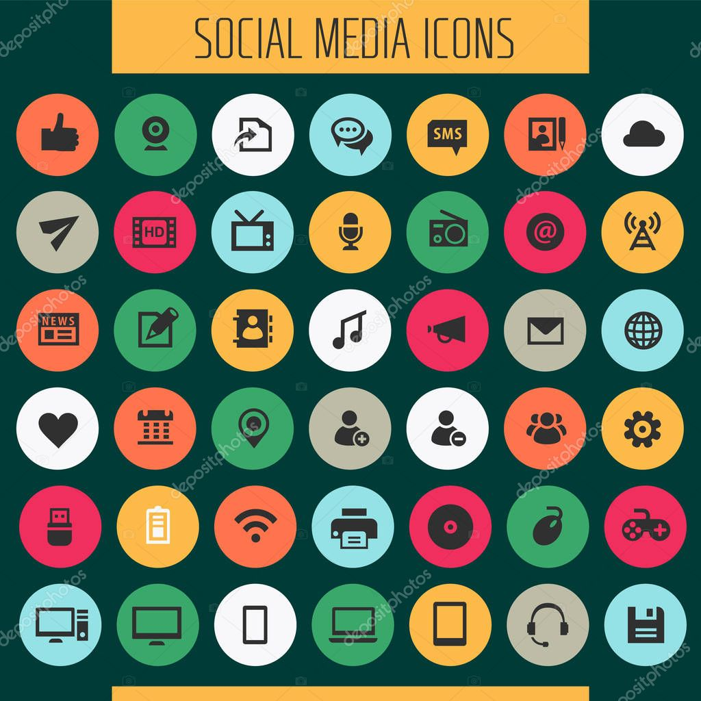 Trendy Flat Design Big Social Media Icons Set Premium Vector In Adobe Illustrator Ai Ai Format Encapsulated Postscript Eps Eps Format