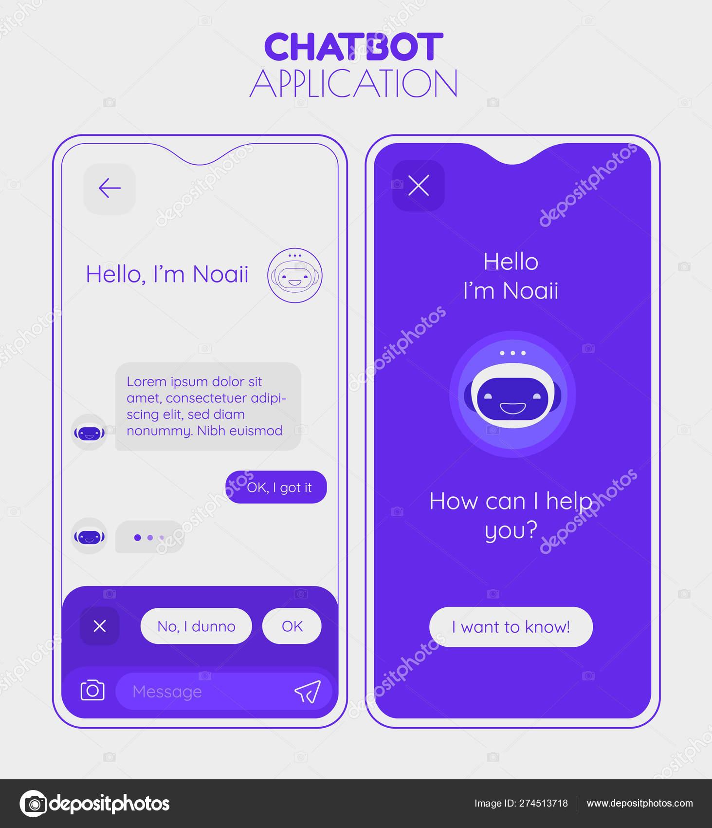 Chatbot mobile app concept  Trendy flat design vector illustration