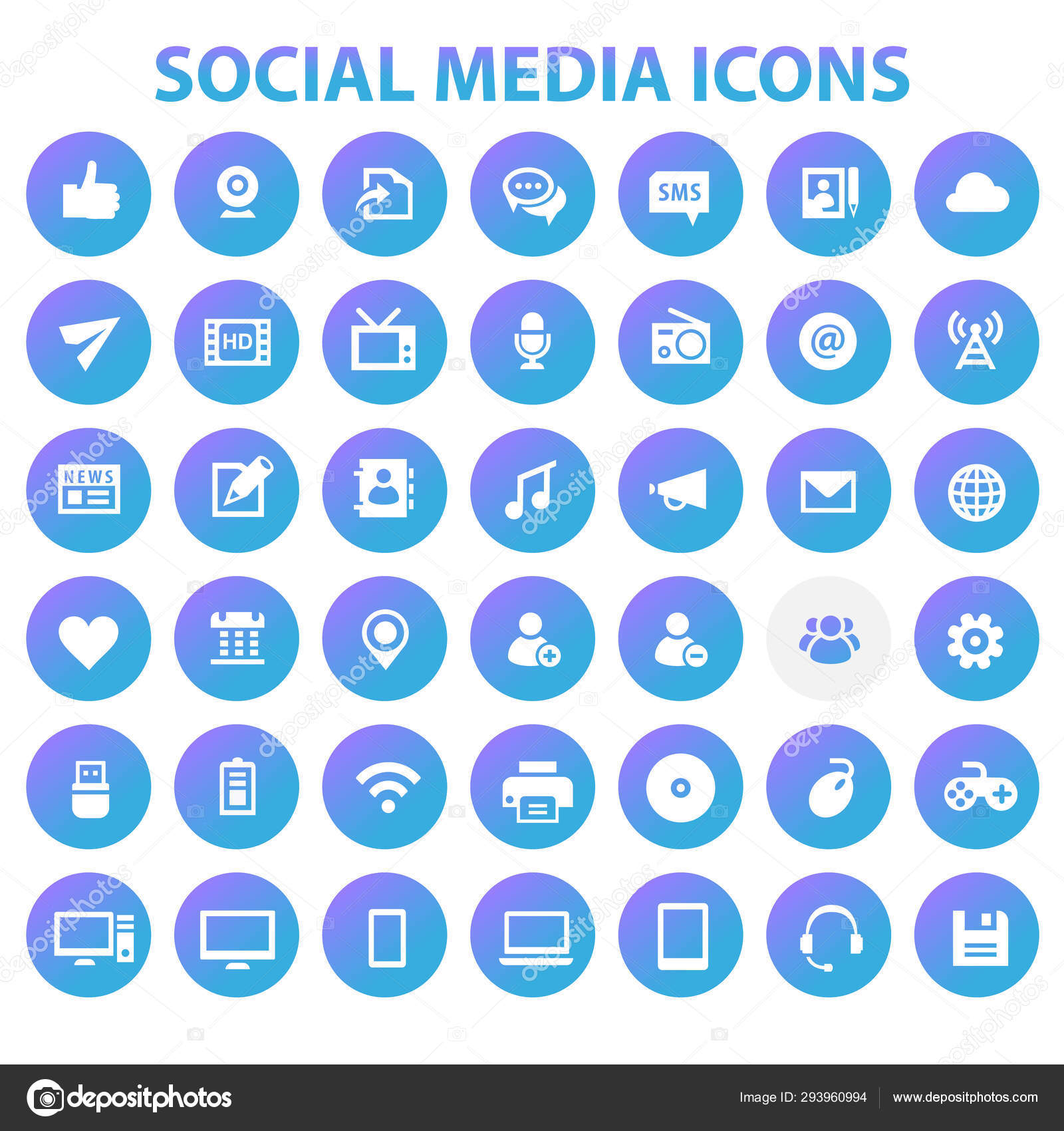 Big Social Media Icon Set Trendy Flat Icons Collection Stock Vector C Izabell 293960994