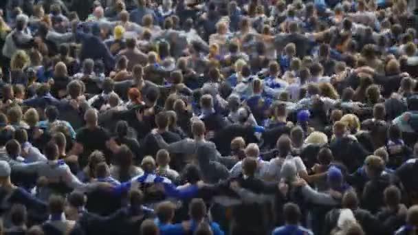 Vzrušený dav skákání, oslavující vítězství, 4k