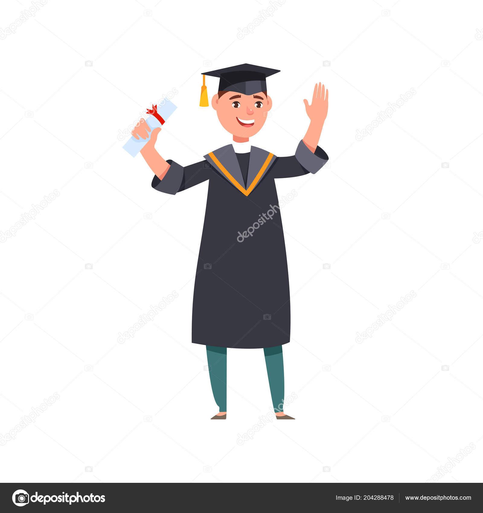 Sonriendo Feliz Graduados Vestidos Graduación Diplomas