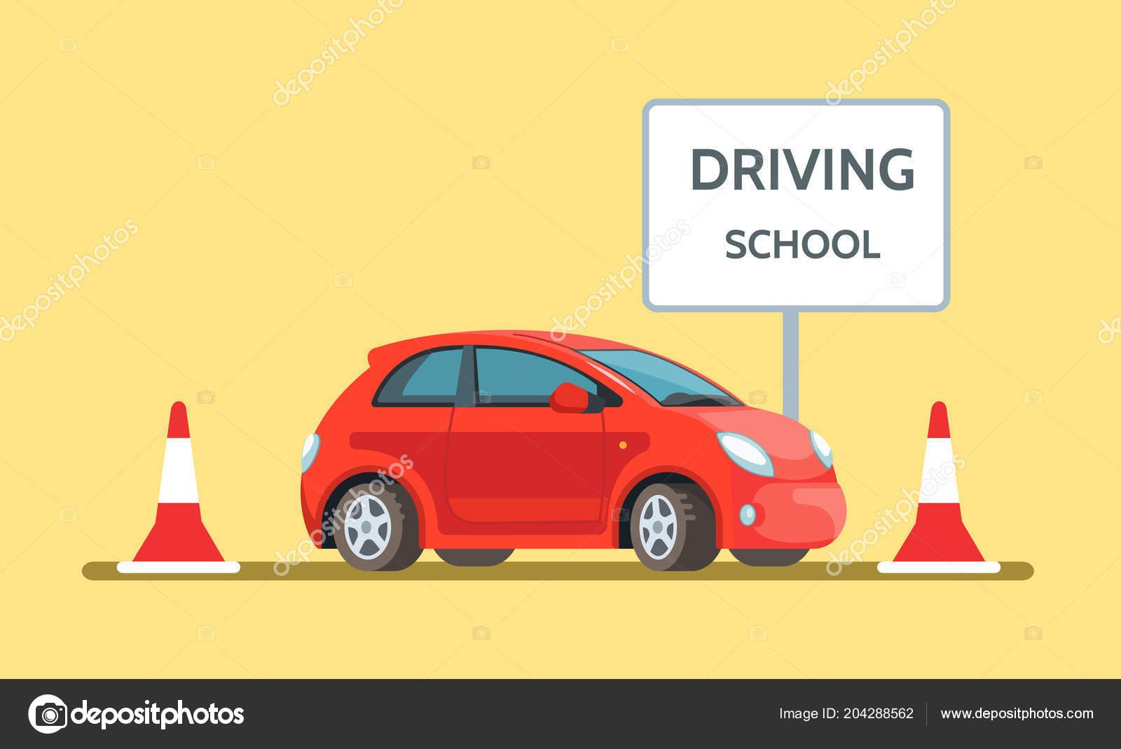 Vector Illustration Red Car Driving School Outdoor Flat