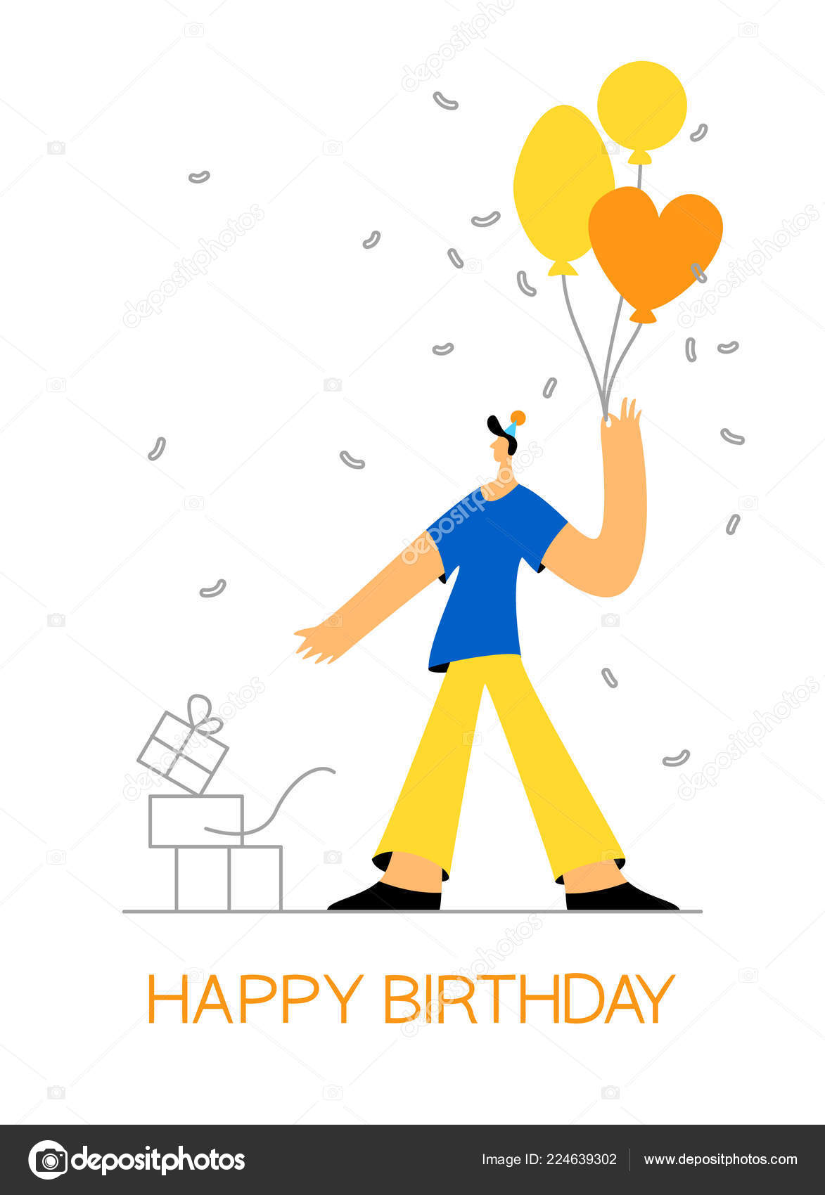 Birthday Celebration Greeting Card Poster Web Banner Young Man Balloon Stock Vector
