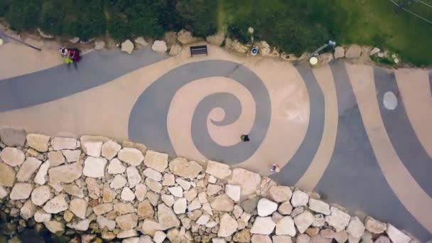 Waves at the Tel Aviv promenade, aerial footage 4k