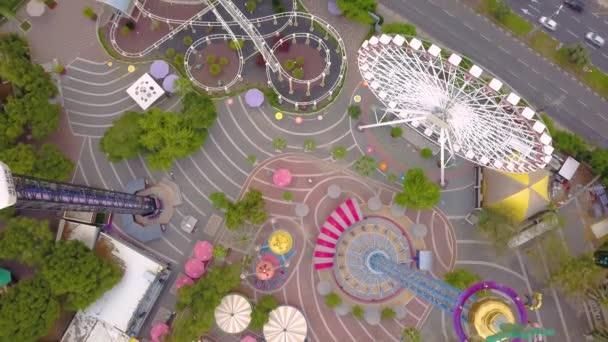 Flying above Luna Park in Tel Aviv 4k drone footage