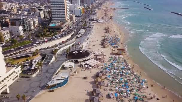 Tel Aviv beach 4k aerial drone footage