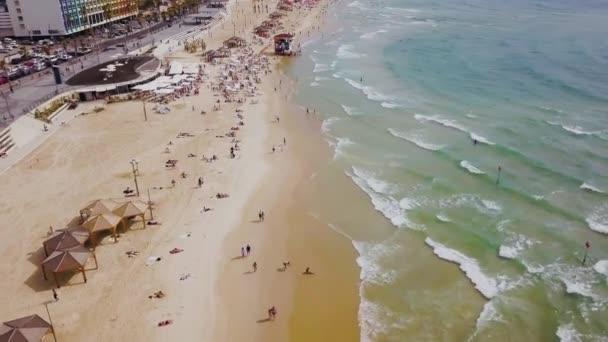 Tel Aviv beach 4k letecké dron záběry