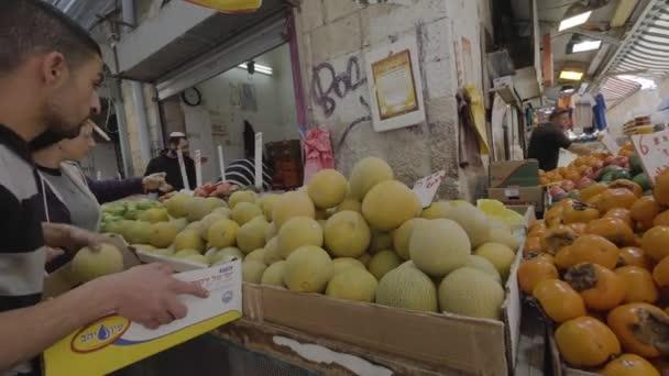 Israel, Jerusalem - February 01, 2018: People shopping at the Jerusalem market 4k footage