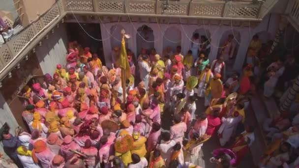 aerial view of Holi color festival in India, 4k drone footage