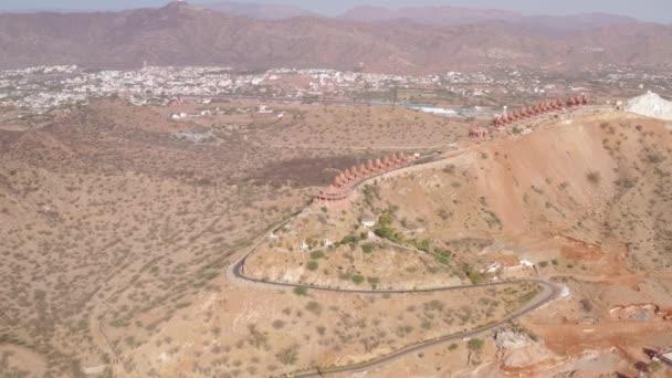 Ansicht des Berg-Jain-Tempels, Ajmer, Indien, 4k-Drohne unbemannt