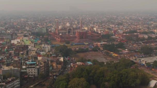 New Delhi, India, Jama Masjid mosque 4k aerial drone video