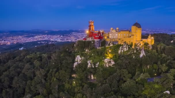Pena palace in Sintra at sunset, Portugal, 4k aerial drone view