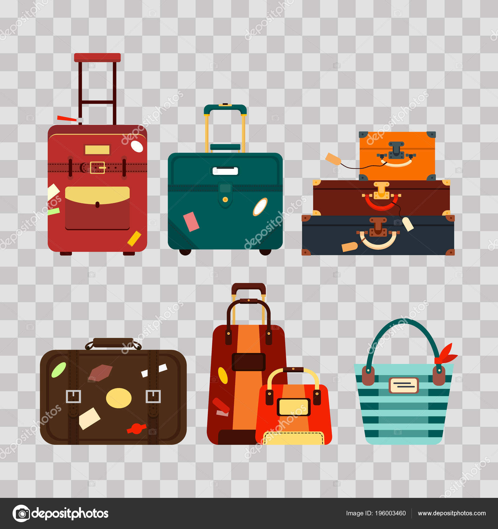 Set travel bags on transparent background vector illustration. Collection  business voyage packing, handle trip fd84158d39