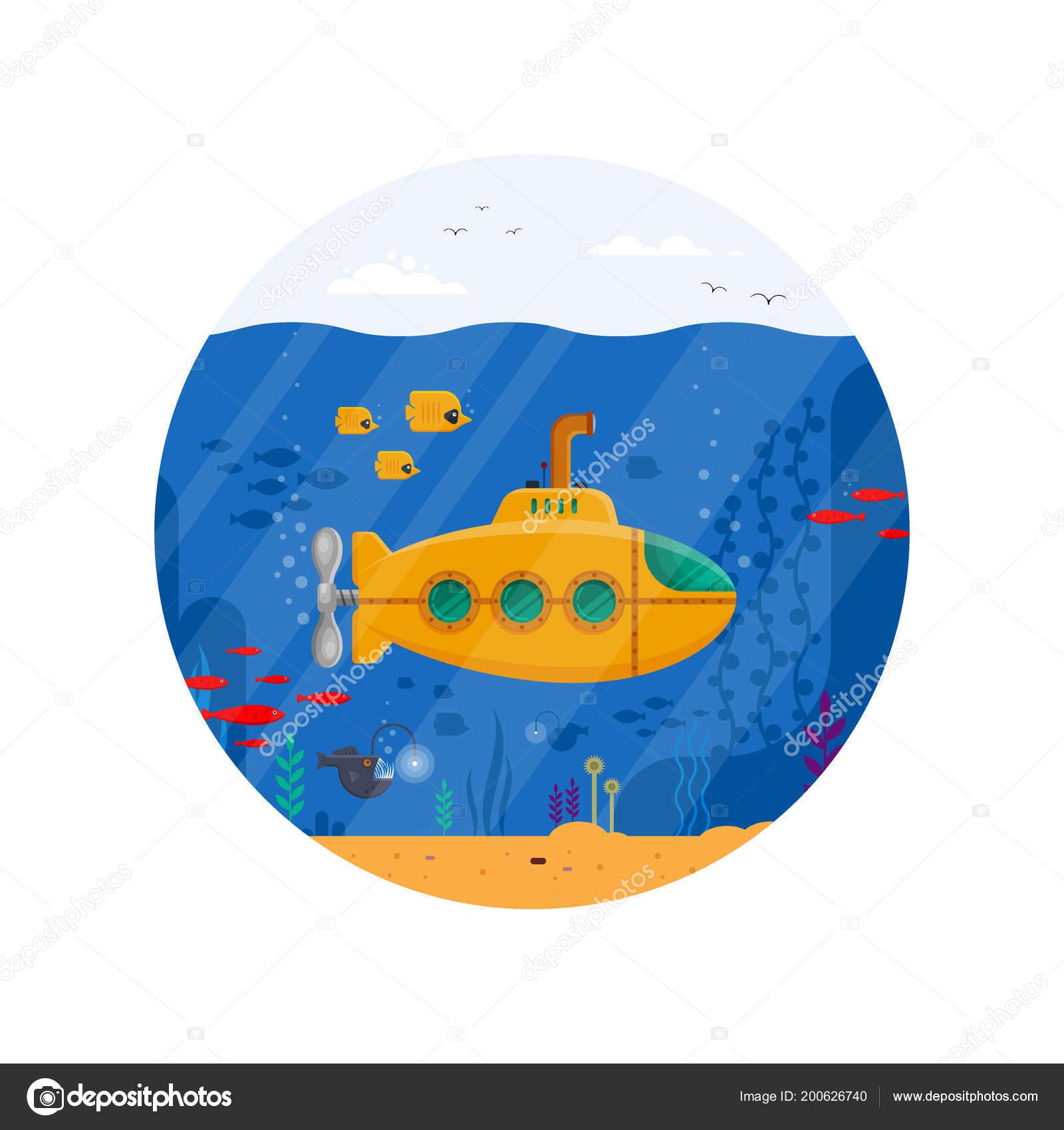yellow submarine with periscope underwater concept in circle marine