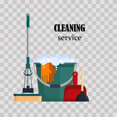 Cleaning service. Colorful set house cleaning tools with bucket, mop, glovers, scoop, toilet plunger on transparent background. Detergent and disinfectant products, household equipment - flat vector