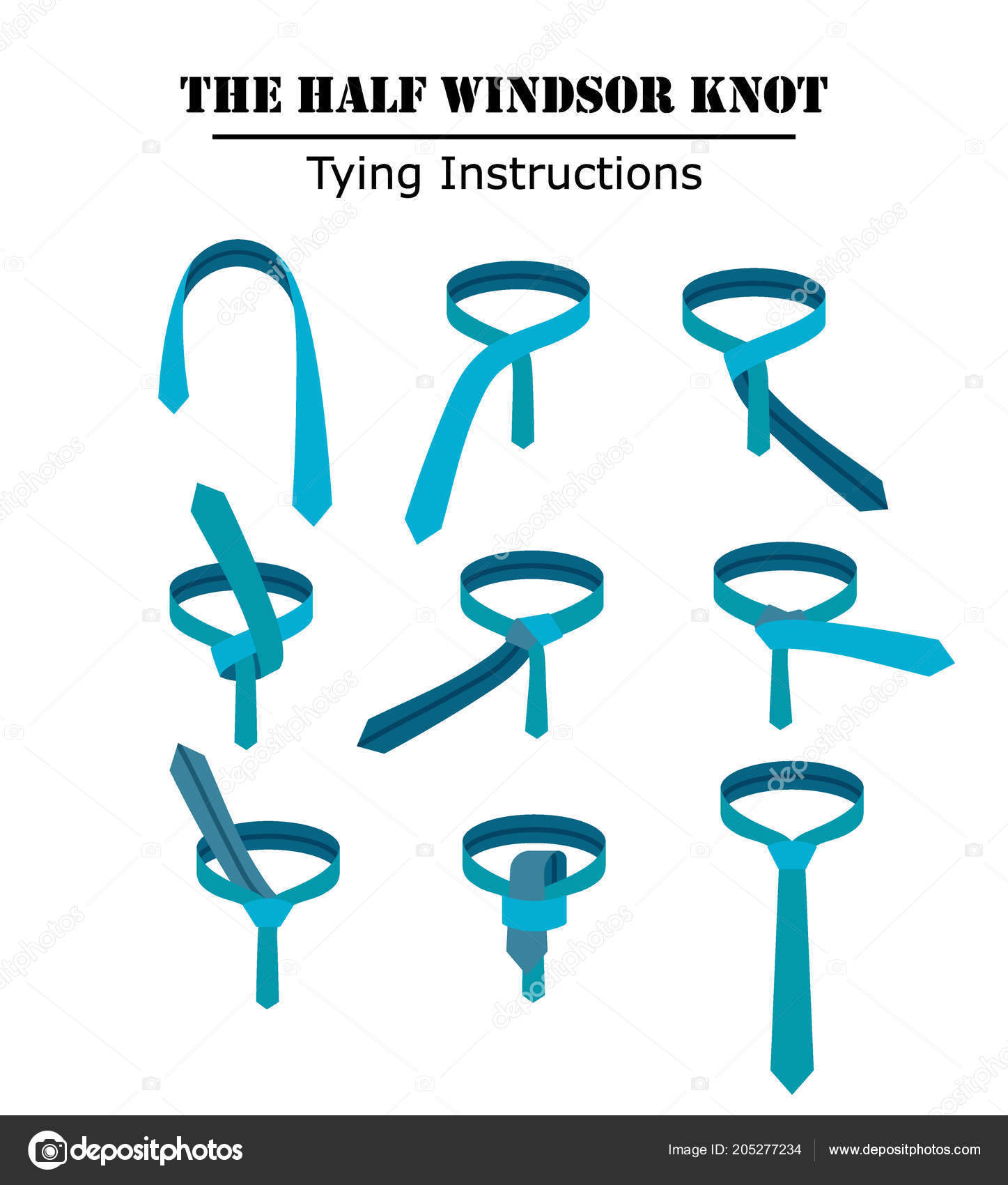 The half windsor tie knot instructions isolated on white background the half windsor tie knot instructions isolated on white background guide how to tie a ccuart Image collections