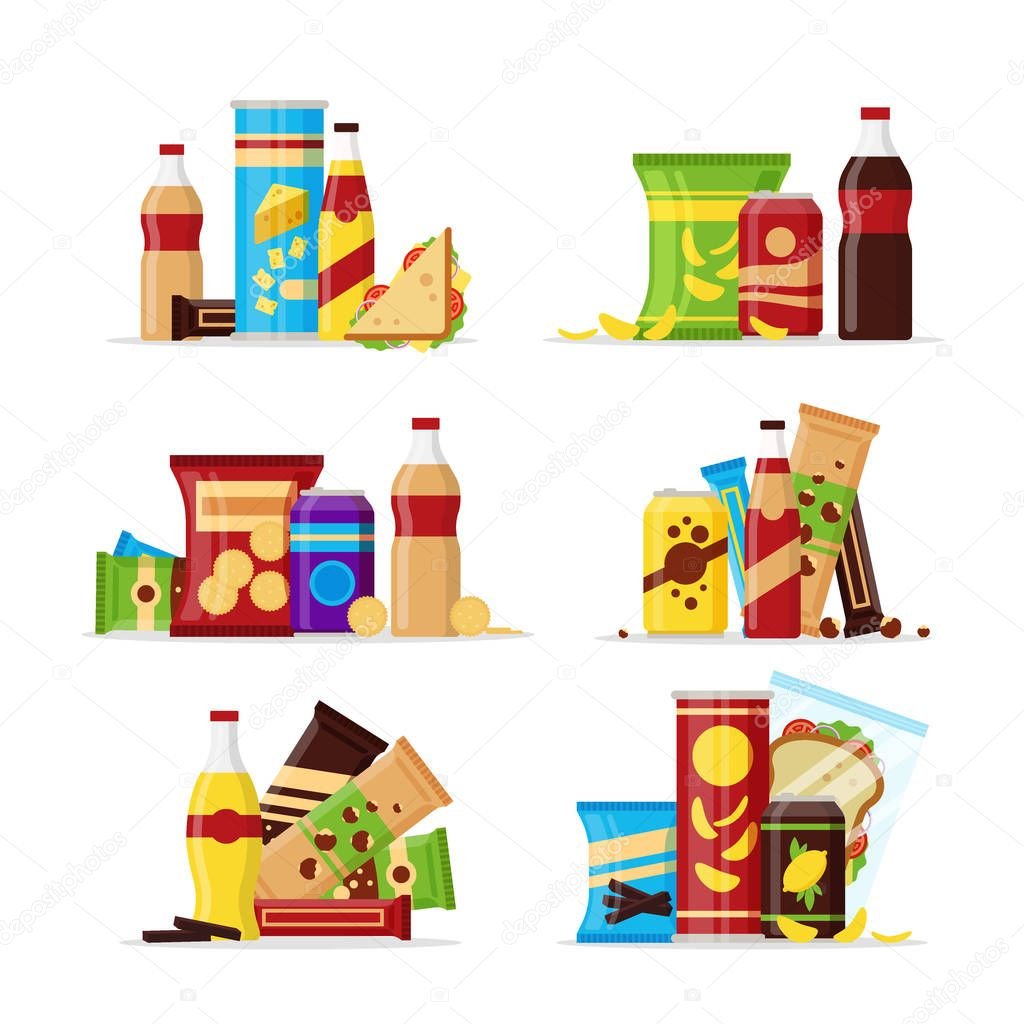 Snack product set, fast food snacks, drinks, nuts, chips, cracker, juice, sandwich isolated on white background. Flat illustration in vector