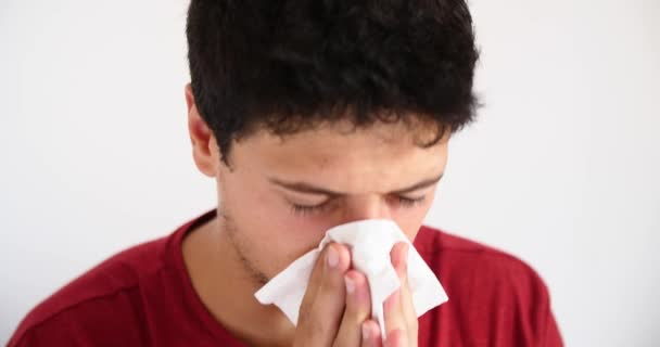 sick young man coughing ill flu fever