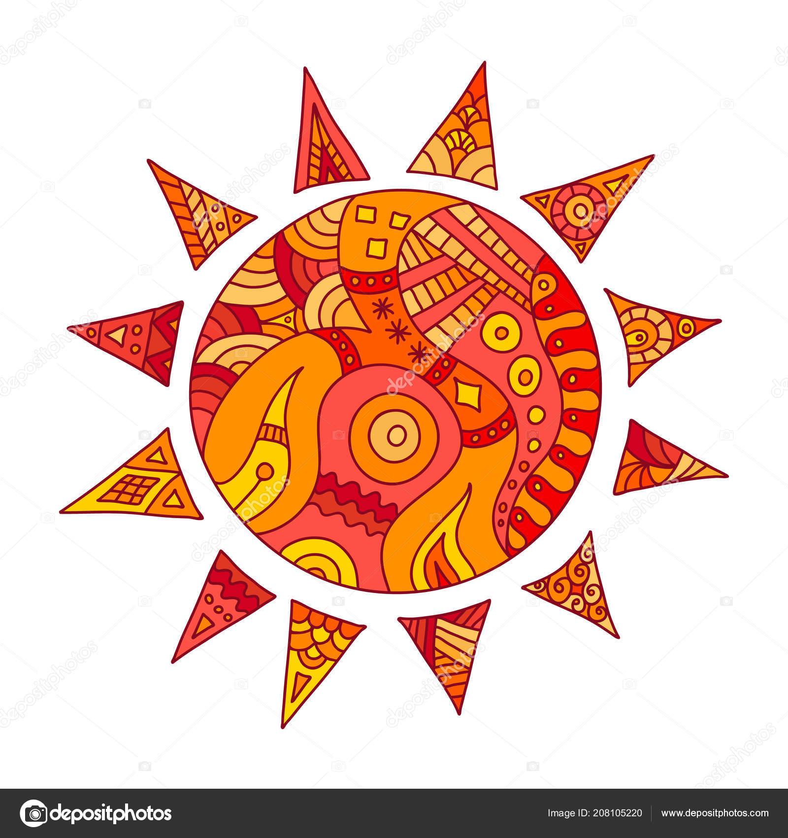 Vector Pintado Sol Mano Dibuja Sol Con Rayos Plantilla Para