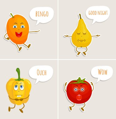Characters stickers in cartoon style. Vector fruits and vegetables.