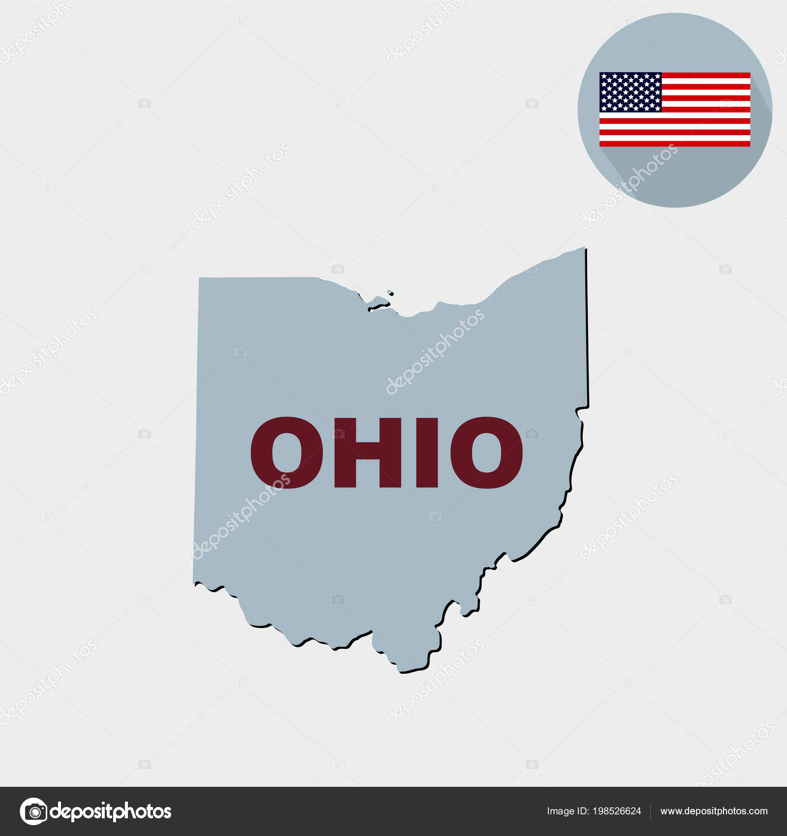 Ohio On State Map.Map State Ohio Grey Background American Flag State Name Stock