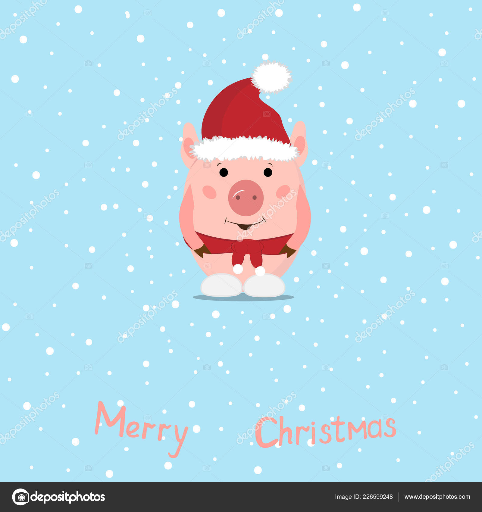 Funny Christmas Pigs Greeting Card Merry Christmas New Year Pig ...