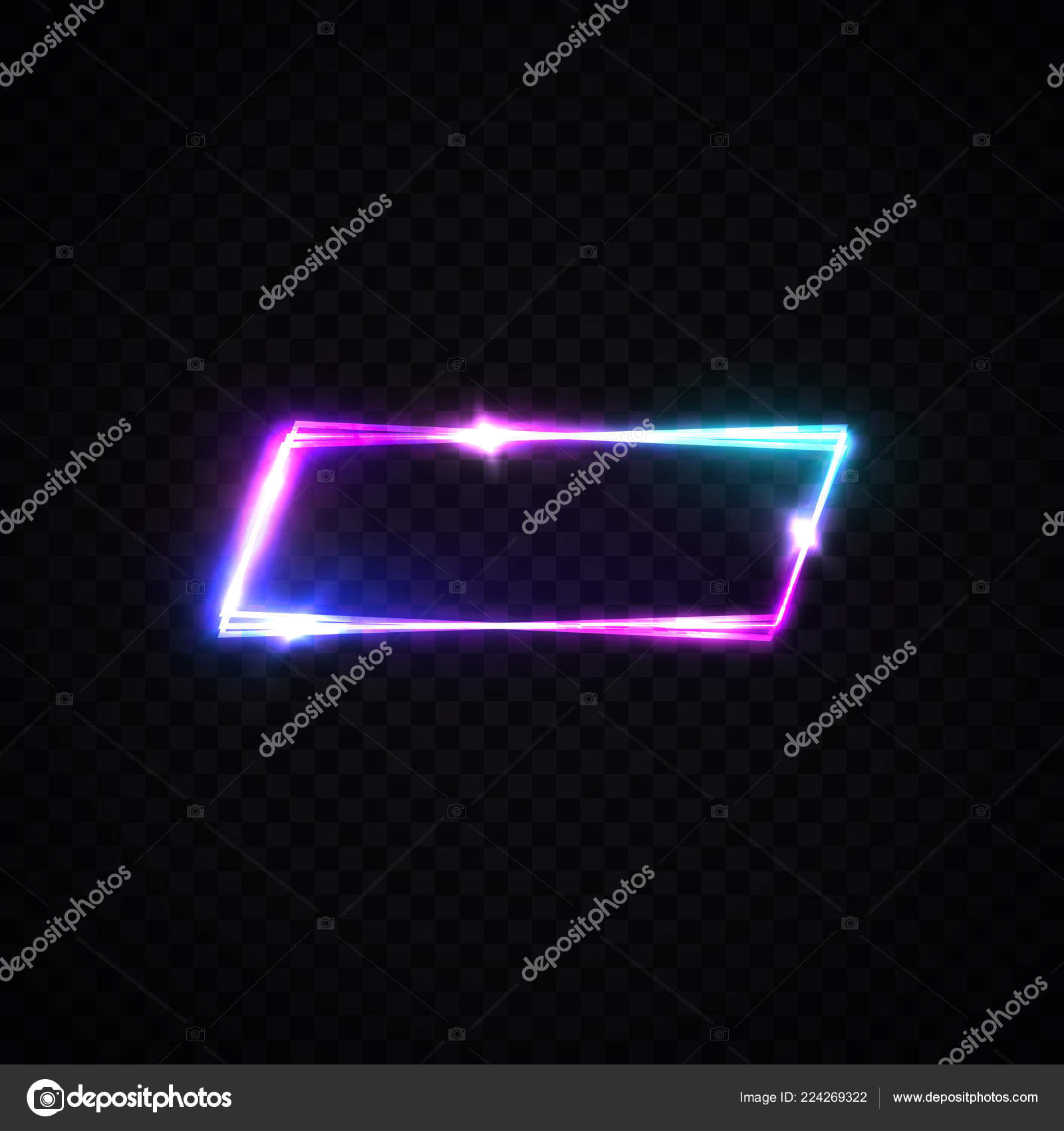 neon sign template on transparent background with blank space for