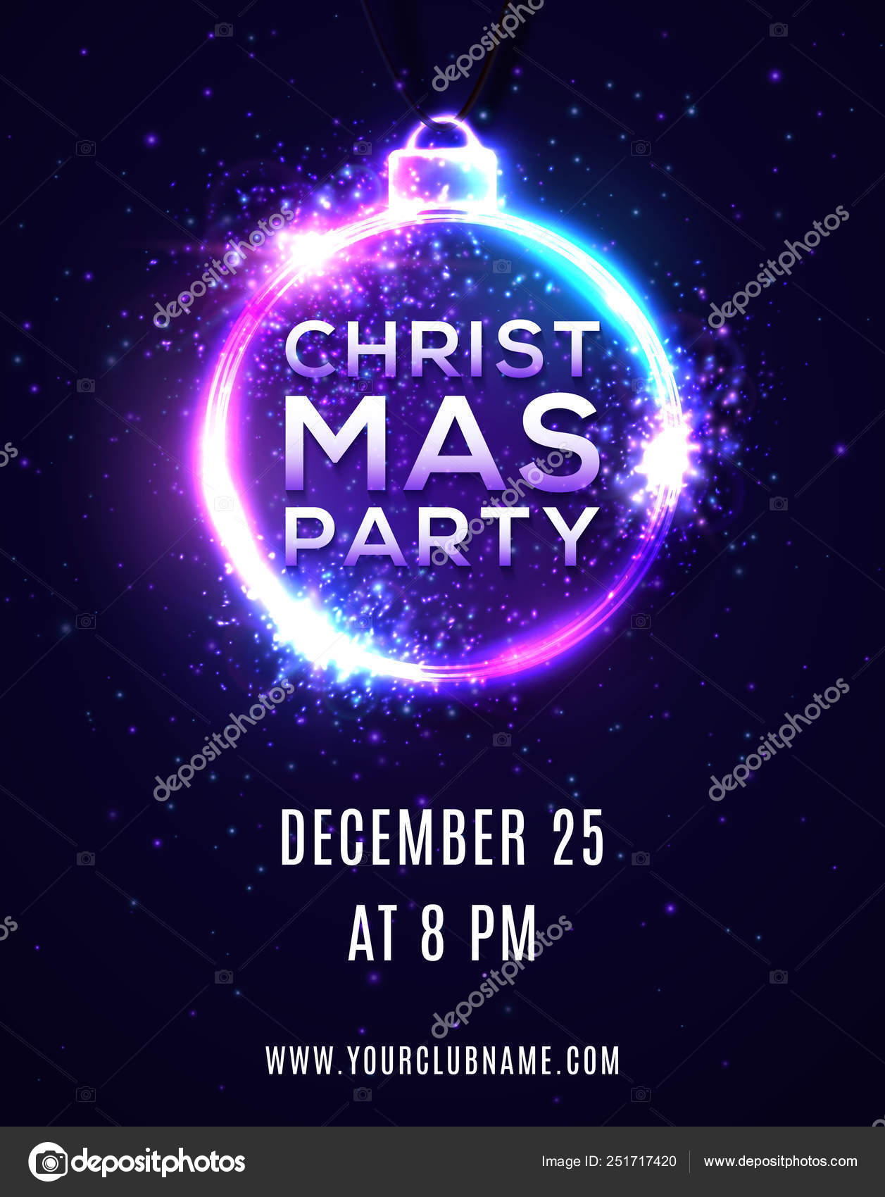 Christmas Party Background Or Poster Template Brochure Flyer Banner Design Xmas Disco Dancing Music Party Invitation In 80s Neon Style With Particles Light Flashes Stars Bright Vector Illustration Stock Vector C