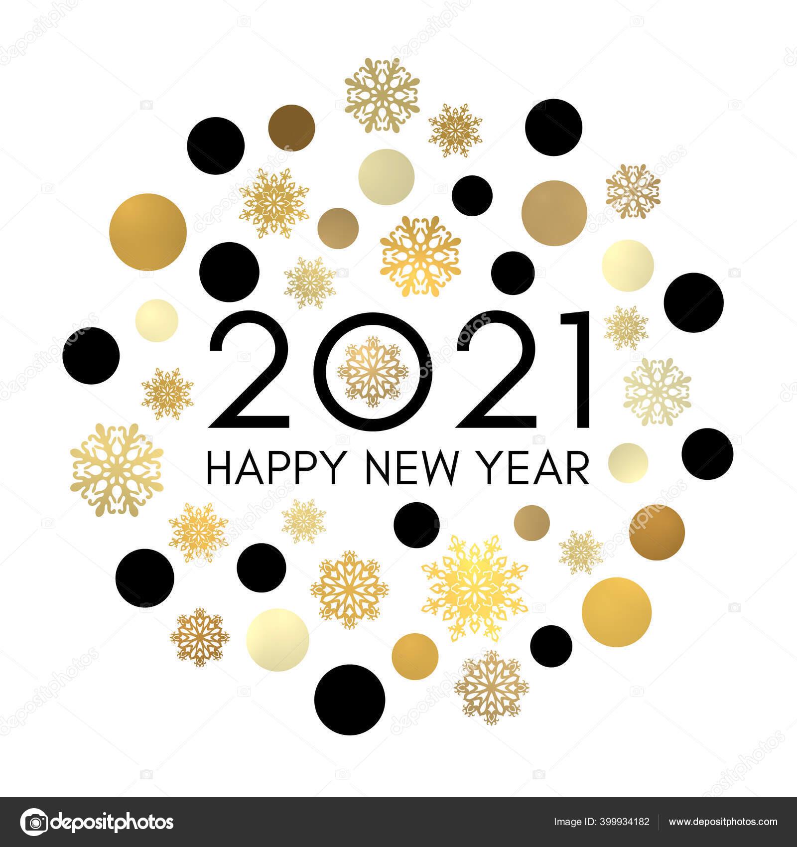 2021 Happy New Year Greeting Card Design Black Celebration Text Stock Vector C Julkirio 399934182