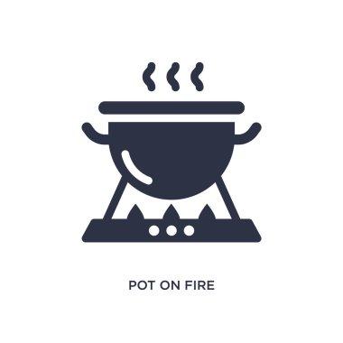 pot on fire icon on white background. Simple element illustratio