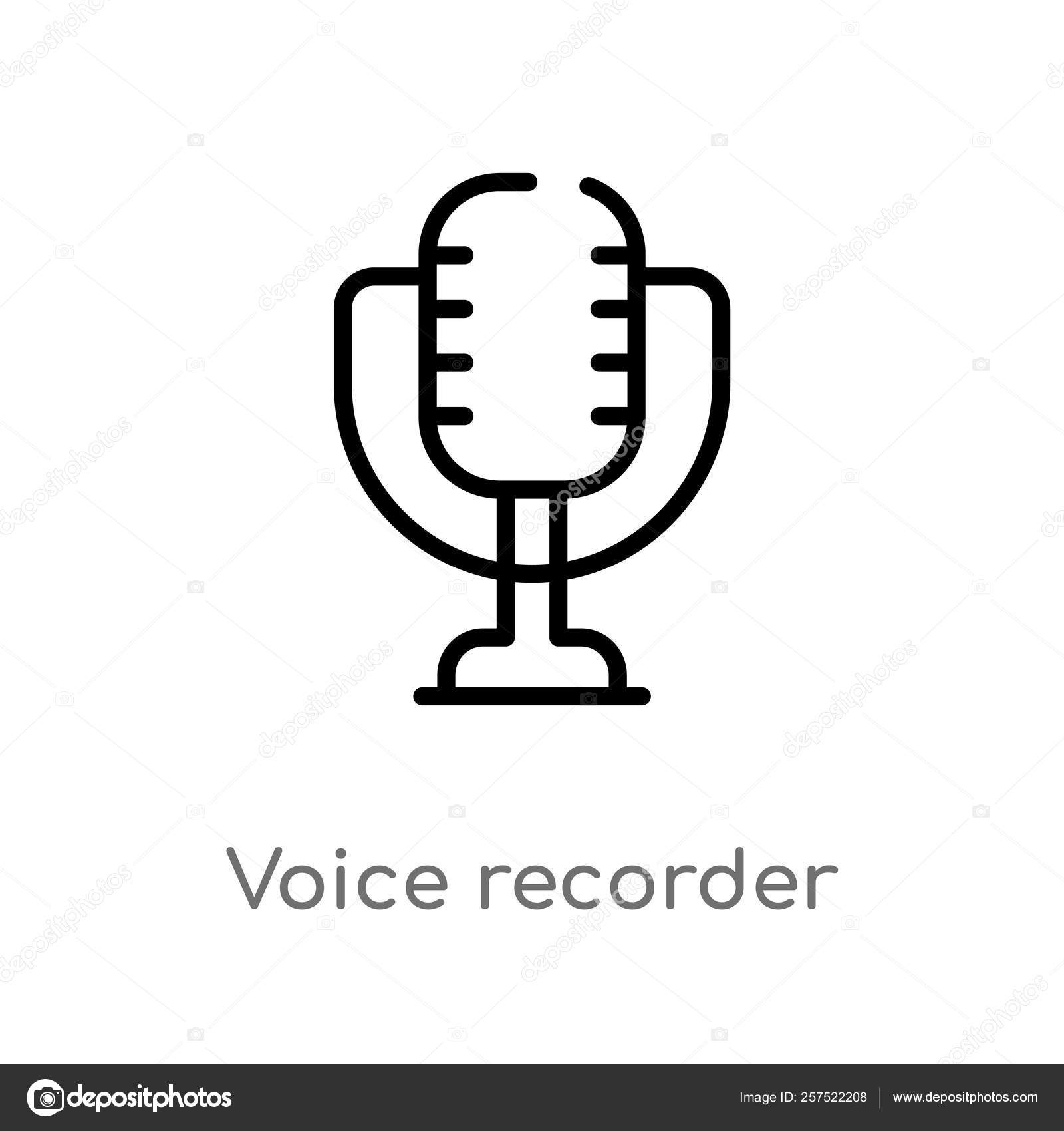 Outline Voice Recorder Vector Icon Isolated Black Simple