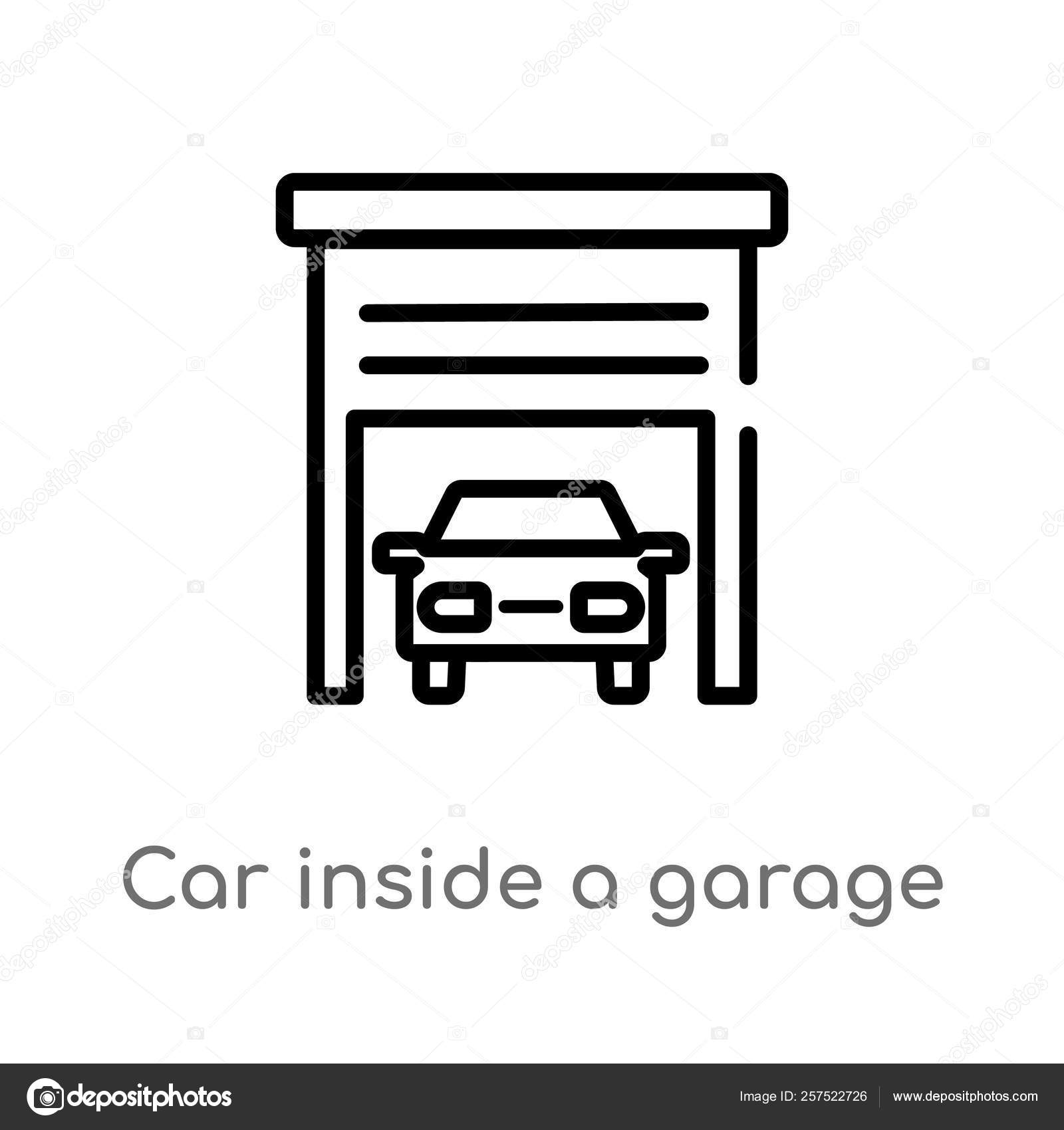 Outline Car Garage Vector Icon Isolated Black Simple Line
