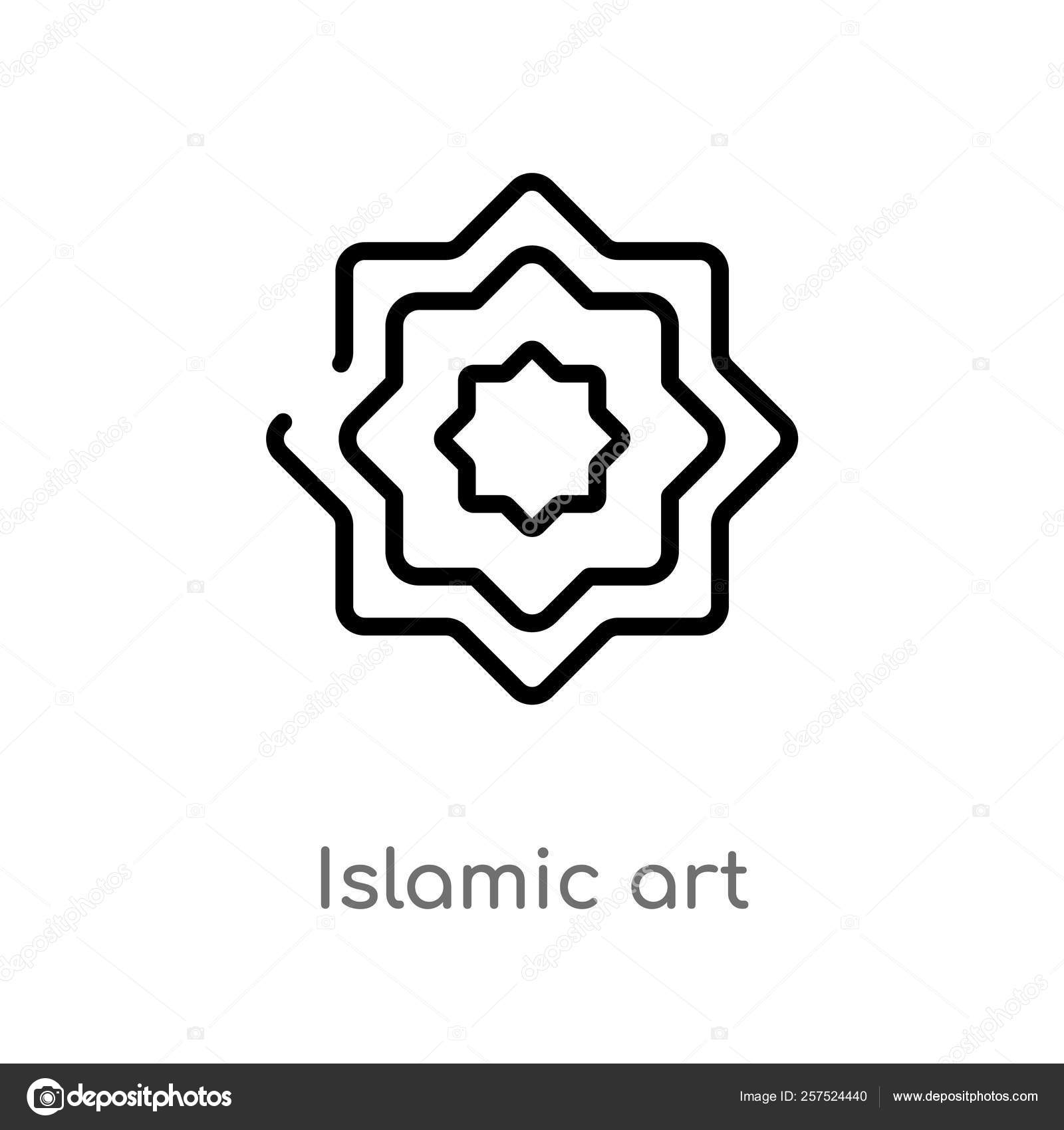 Outline Islamic Art Vector Icon Isolated Black Simple Line