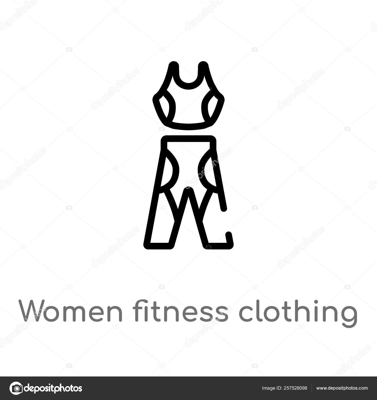 Outline Women Fitness Clothing Vector Icon Isolated Black
