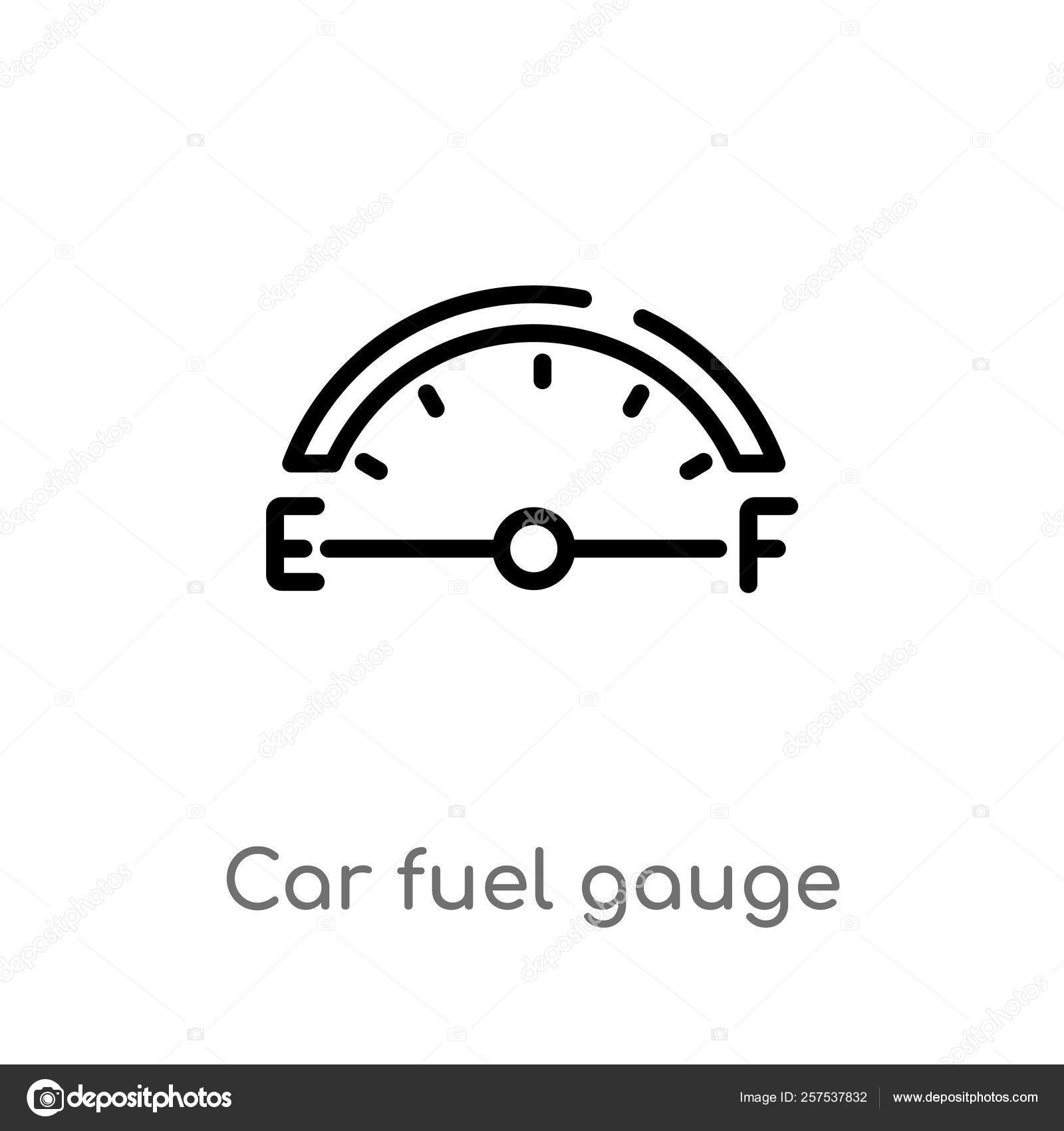 Outline Car Fuel Gauge Vector Icon Isolated Black Simple