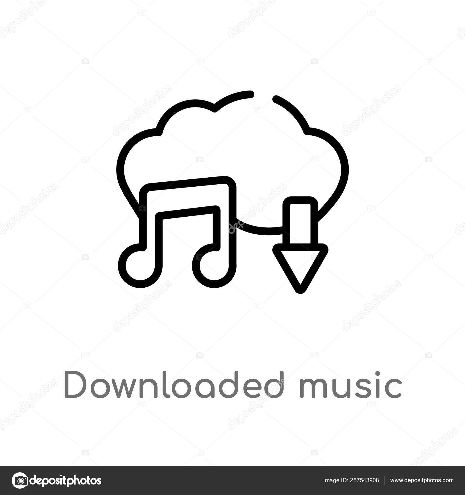 Outline Downloaded Music Cloud Vector Icon Isolated Black Simple