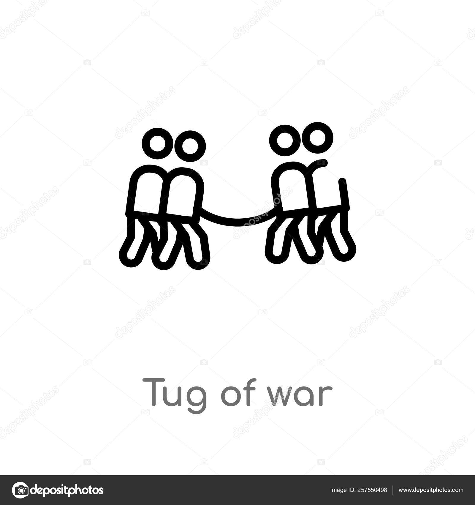Outline Tug War Vector Icon Isolated Black Simple Line