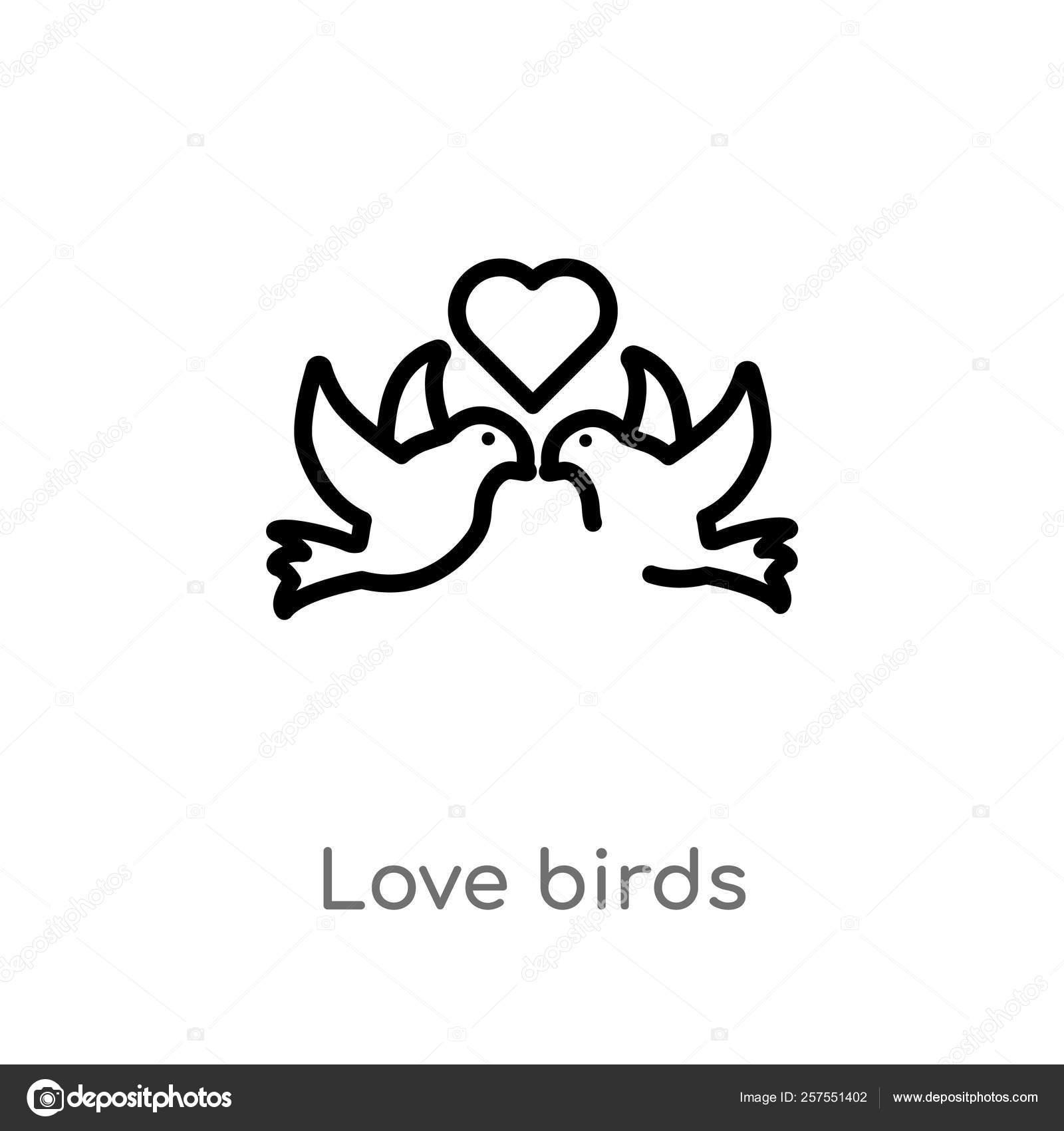 Outline Love Birds Vector Icon Isolated Black Simple Line Element Stock Vector C Zaurrahimov 257551402