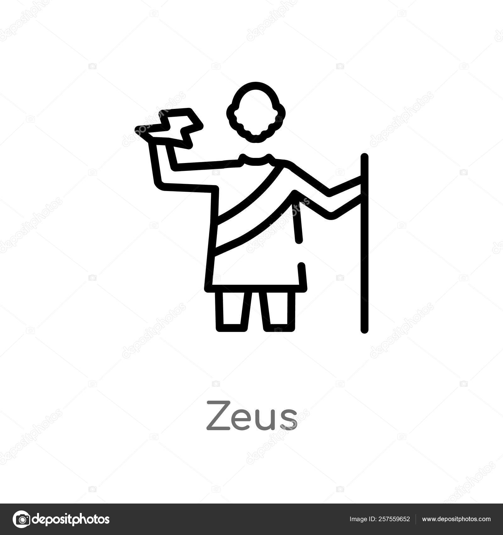 Outline Zeus Vector Icon Isolated Black Simple Line Element