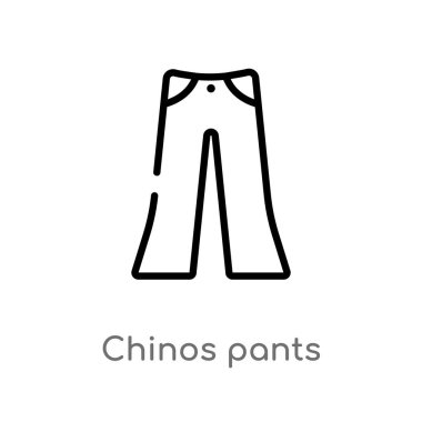 outline chinos pants vector icon. isolated black simple line element illustration from clothes concept. editable vector stroke chinos pants icon on white background