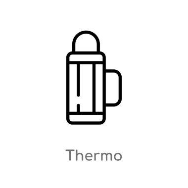 outline thermo vector icon. isolated black simple line element illustration from camping concept. editable vector stroke thermo icon on white background