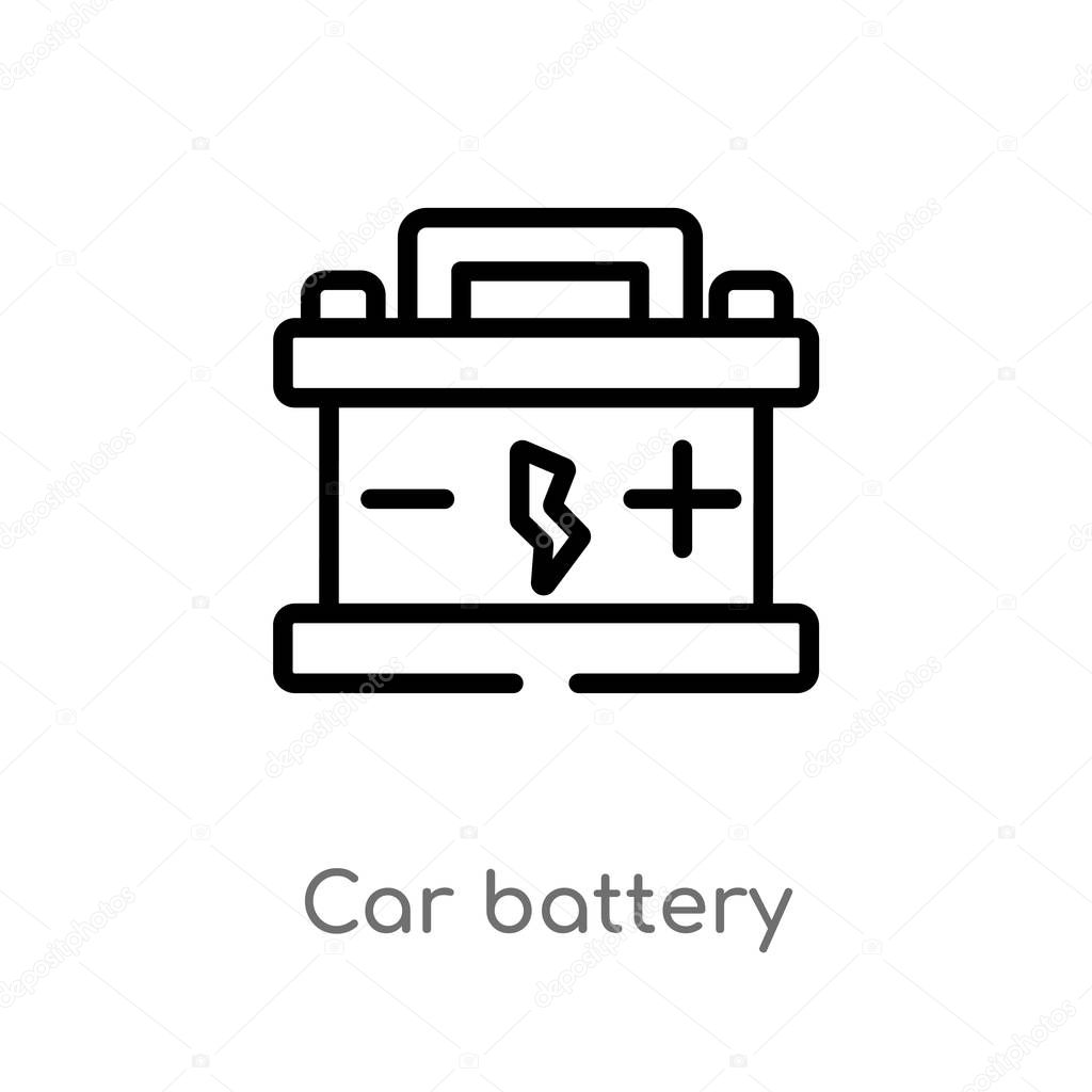 outline car battery vector icon isolated black simple line element illustration from mechanicons concept editable vector stroke car battery icon on white background premium vector in adobe illustrator ai ai outline car battery vector icon
