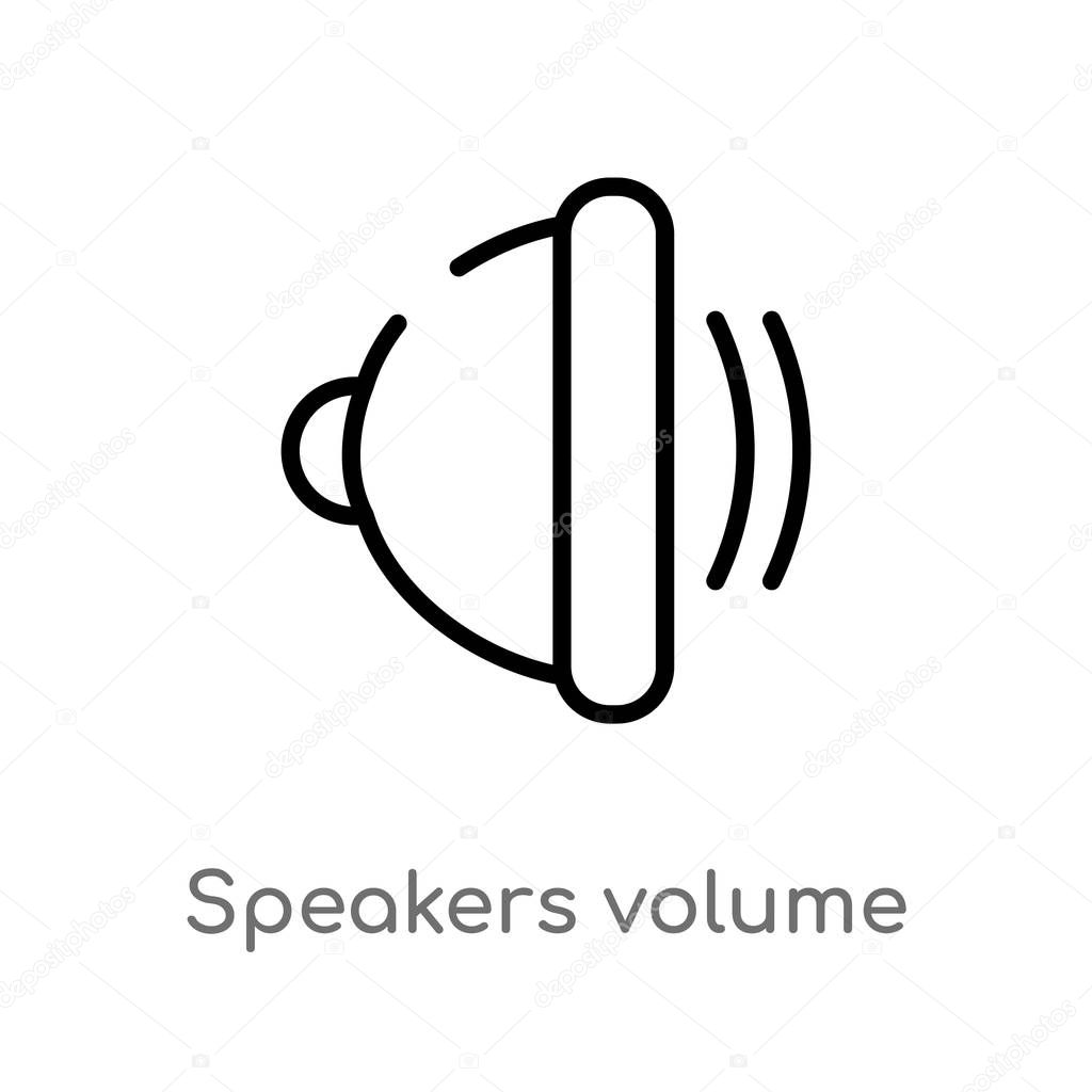 outline speakers volume vector icon. isolated black simple line element illustration from multimedia concept. editable vector stroke speakers volume icon on white background