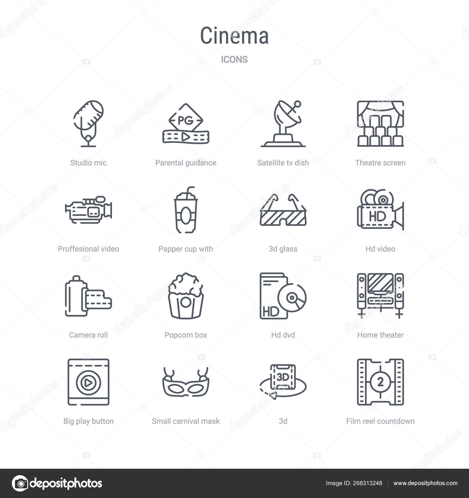 Set of 16 cinema concept vector line icons such as film reel