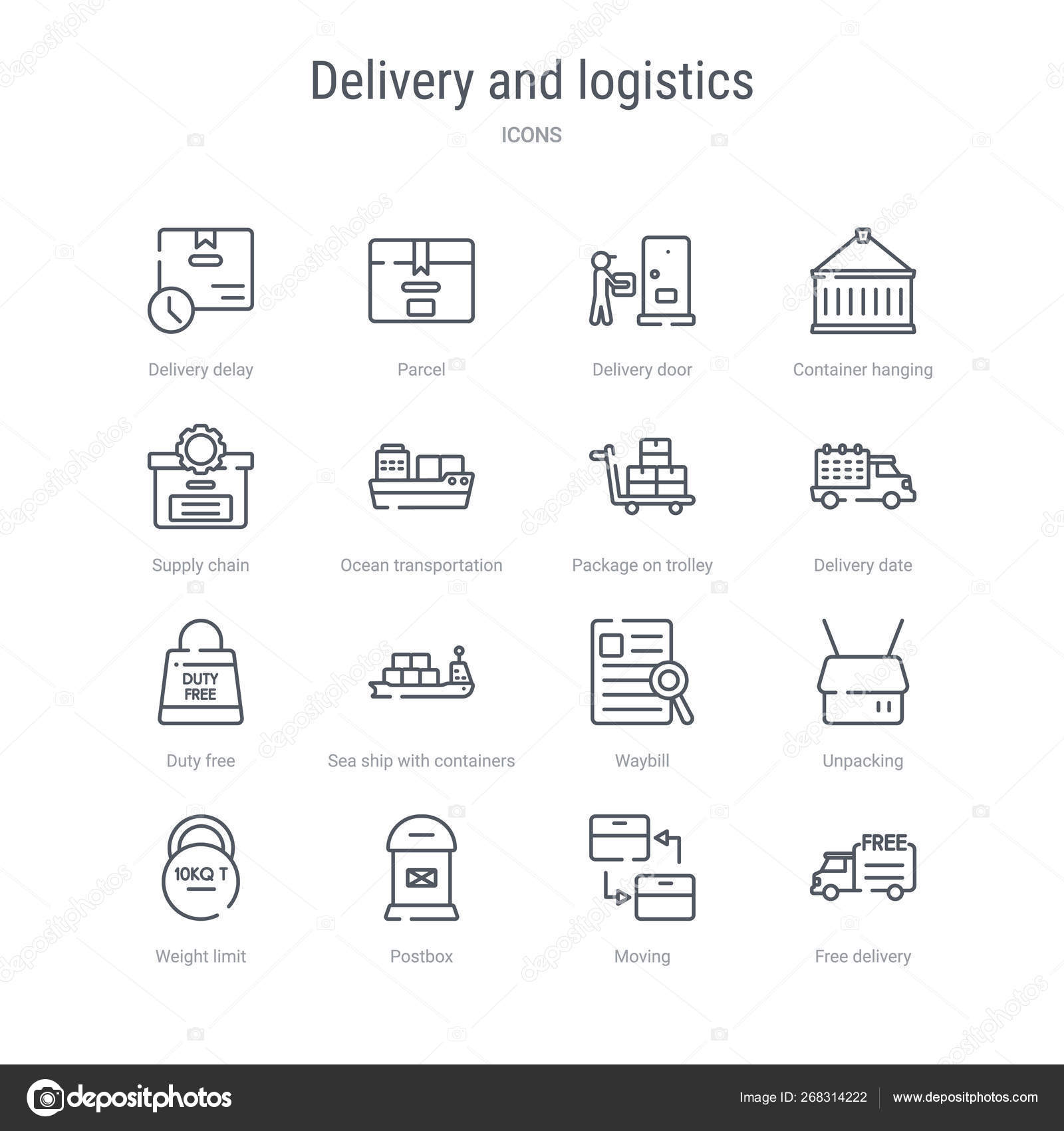 set of 16 delivery and logistics concept vector line icons such