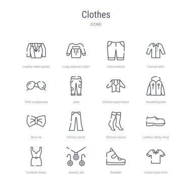 set of 16 clothes concept vector line icons such as cotton polo