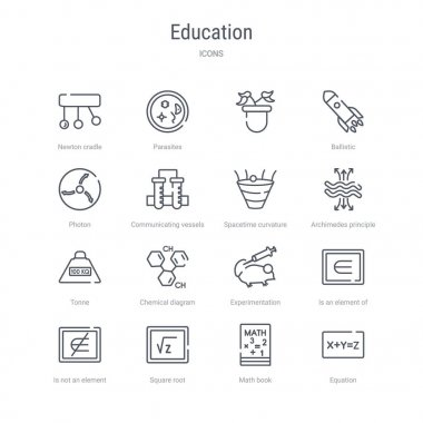 set of 16 education concept vector line icons such as equation,