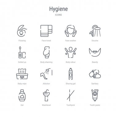 set of 16 hygiene concept vector line icons such as tooth paste,