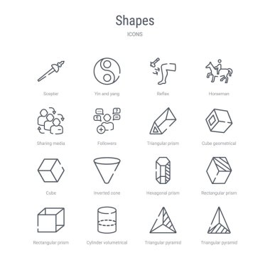Set of 16 shapes concept vector line icons such as triangular pyramid from top view, triangular pyramid volumetrical shape, cylinder volumetrical, rectangular prism volume, rectangular prism, clip art vector