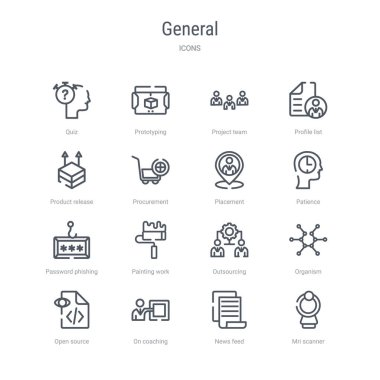 set of 16 general concept vector line icons such as mri scanner,
